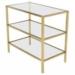 Three-Tier Brass and Glass Serving Table