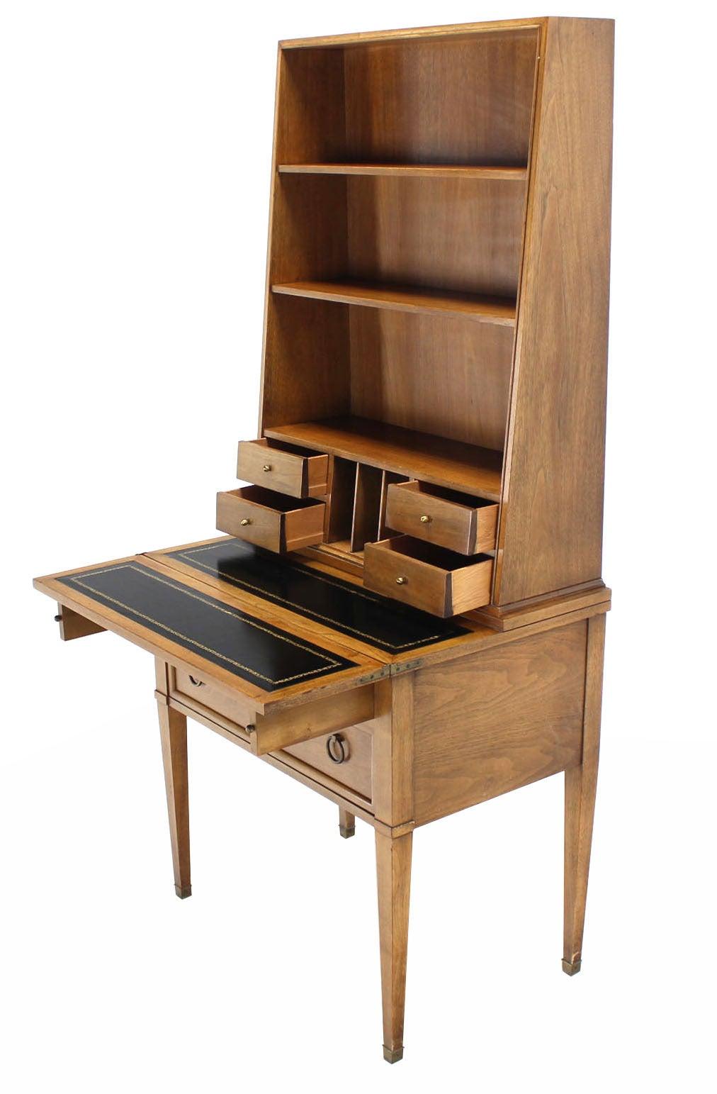 Baker Modern Petite Secretary With Bookcase On Slim Legs