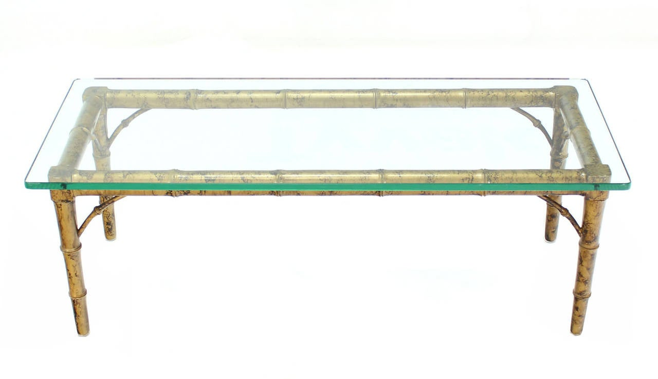Lacquered Wood Faux Bamboo With Glass Top Rectangular Coffee Table For Sale At 1stdibs