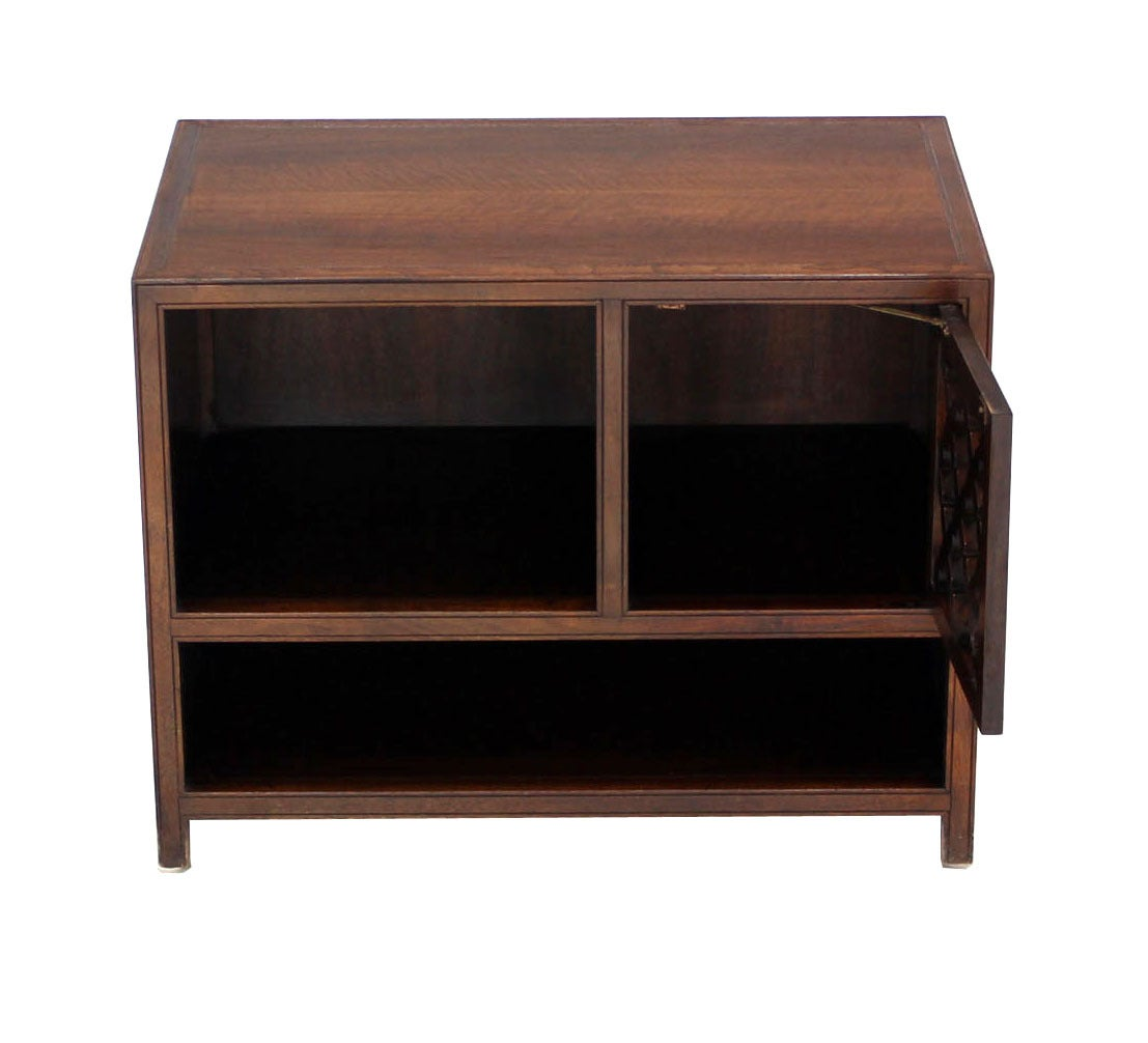 Lacquered Baker Walnut End Table Stand Accent Side Table. For Sale