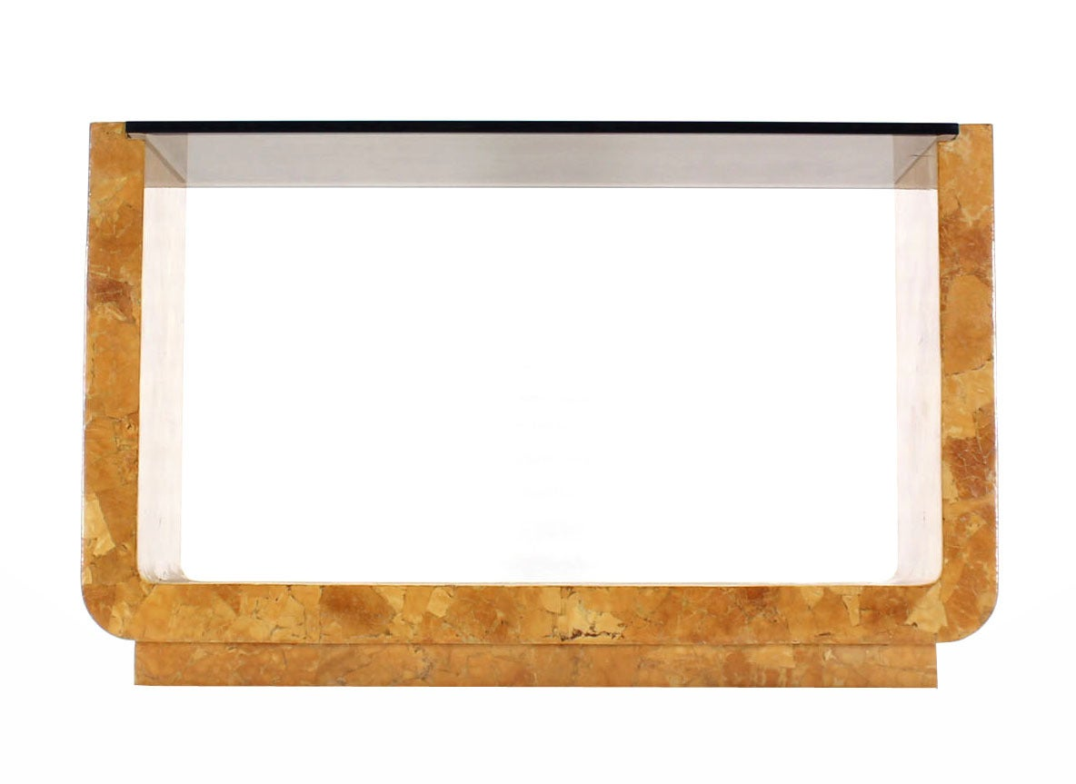 Lacquered Burl Wood Smoked Smoked Glass Top U-Shape Console Table For Sale