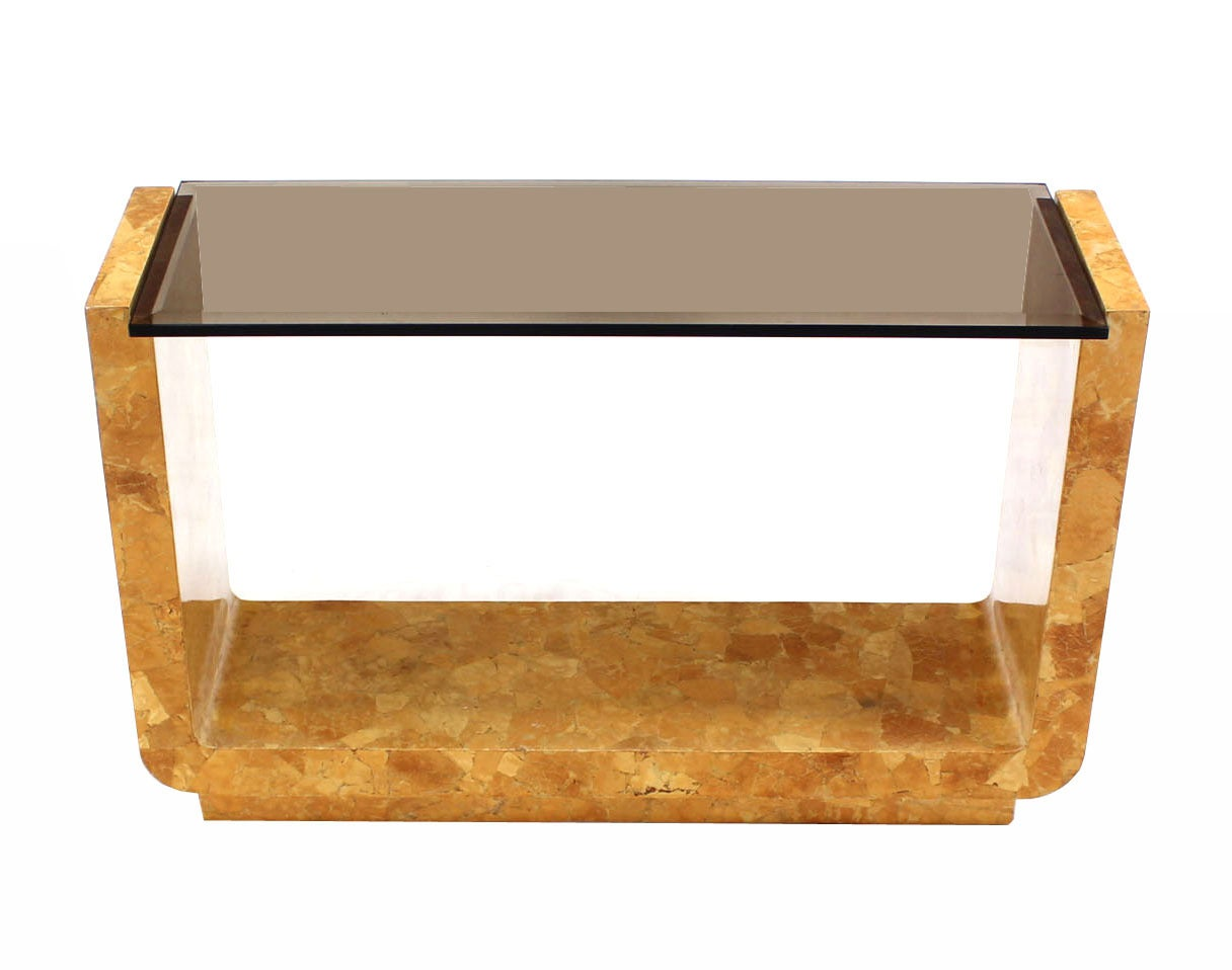 Burl Wood Smoked Smoked Glass Top U Shape Console Table