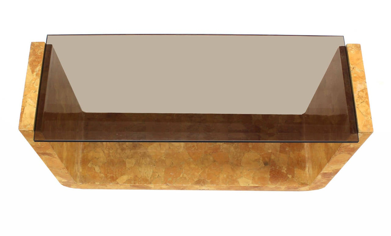 American Burl Wood Smoked Smoked Glass Top U-Shape Console Table For Sale