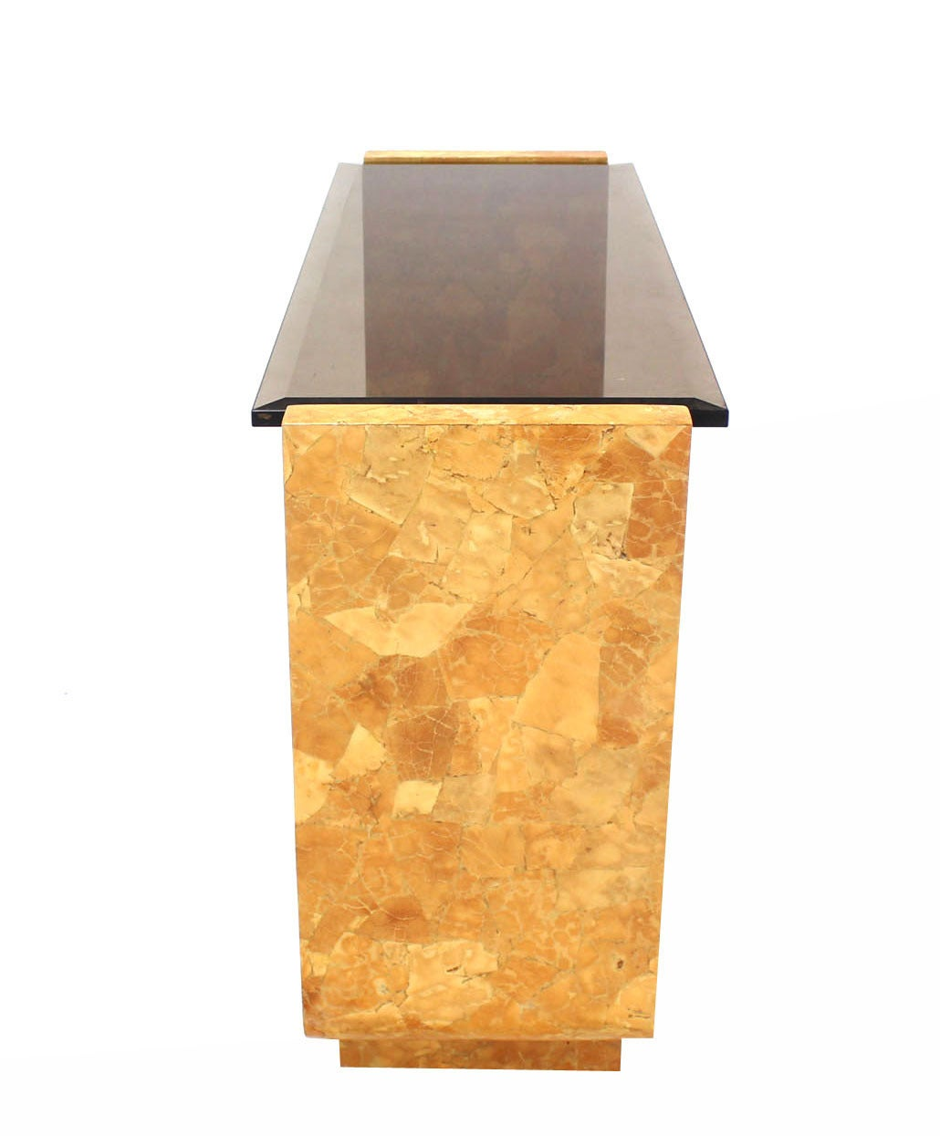 20th Century Burl Wood Smoked Smoked Glass Top U-Shape Console Table For Sale