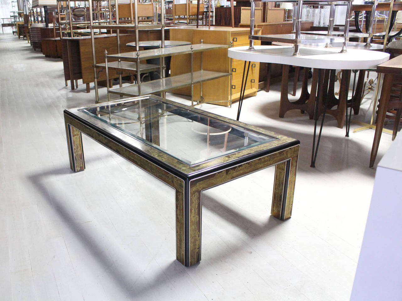 Rectangular Glass-Top Brass and Wood Base Coffee Table by ...