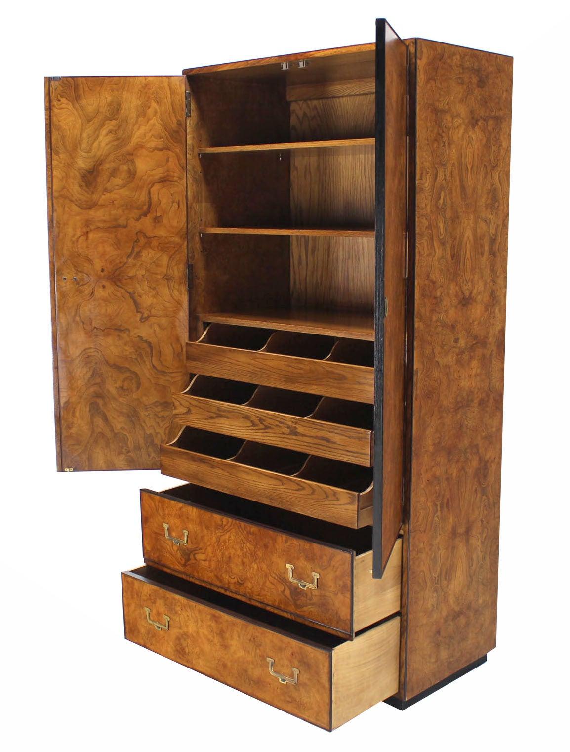 Mid Century Modern John Widdicomb Burl Wood Chifferobe Chest Cabinet Storage Brass Pulls For Sale