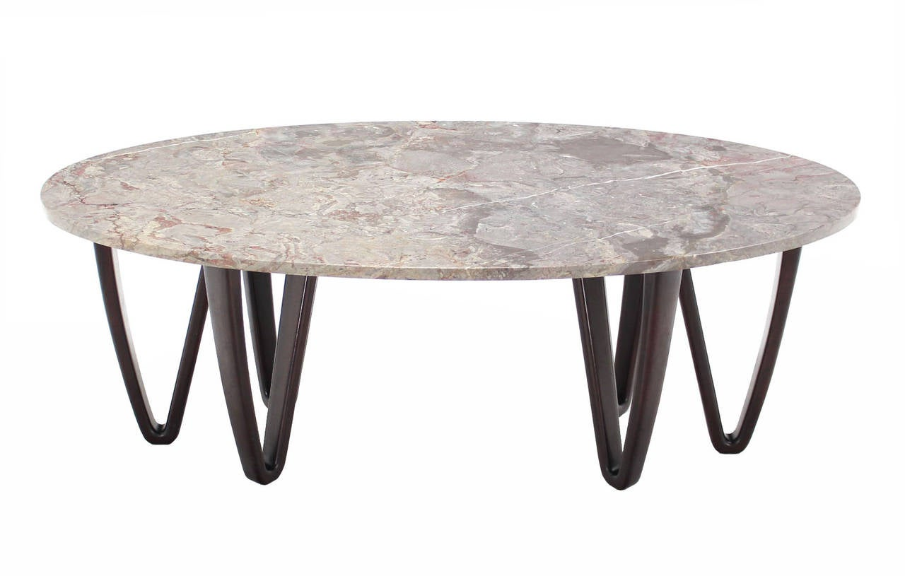 Oval marble top coffee table on wooden hair pin legs at 1stdibs Wood oval coffee table