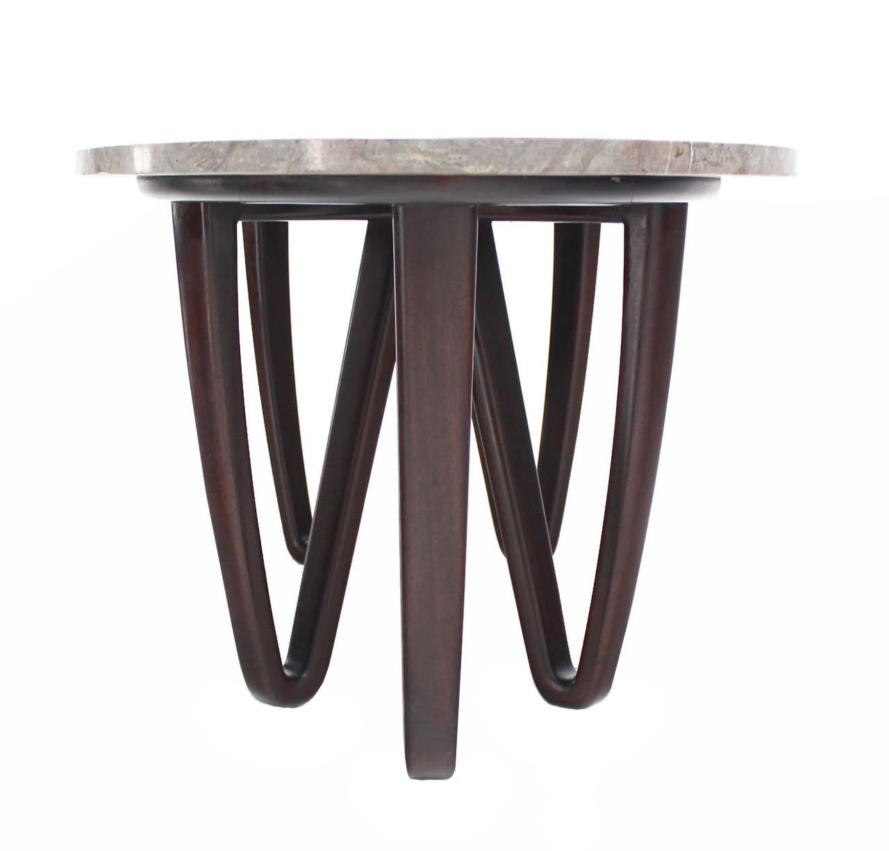 Modern 24 Carat Gold Oval Marble Coffee Table: Oval Marble-Top Coffee Table On Wooden Hair Pin Legs At