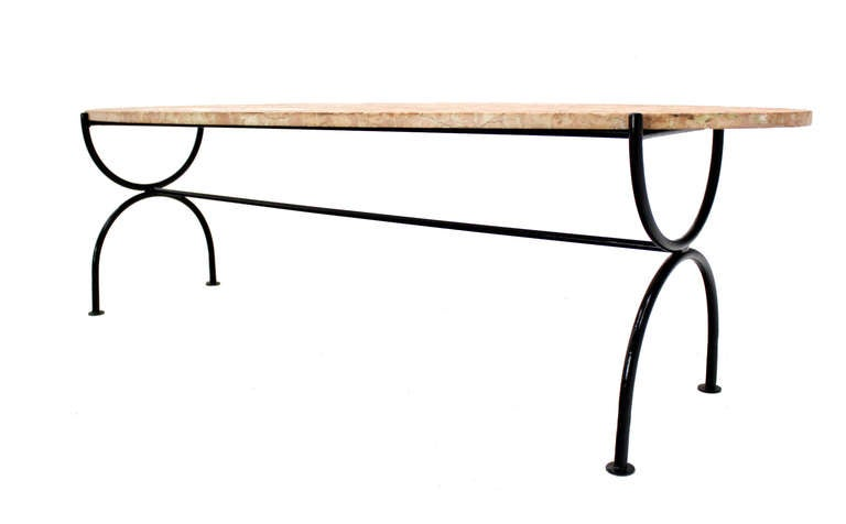 Oval rouge marble top coffee table with wrought iron base for Wrought iron coffee table base