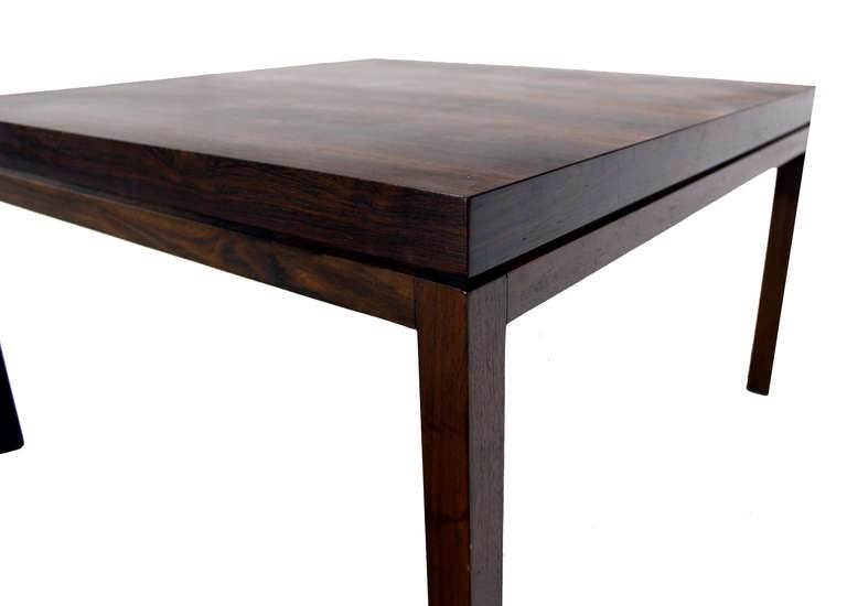 Danish Mid Century Modern Rosewood Square Coffee Table At