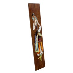 Mid-Century Modern Tall Ceramic Woman Wall Hanging by Harris Strong