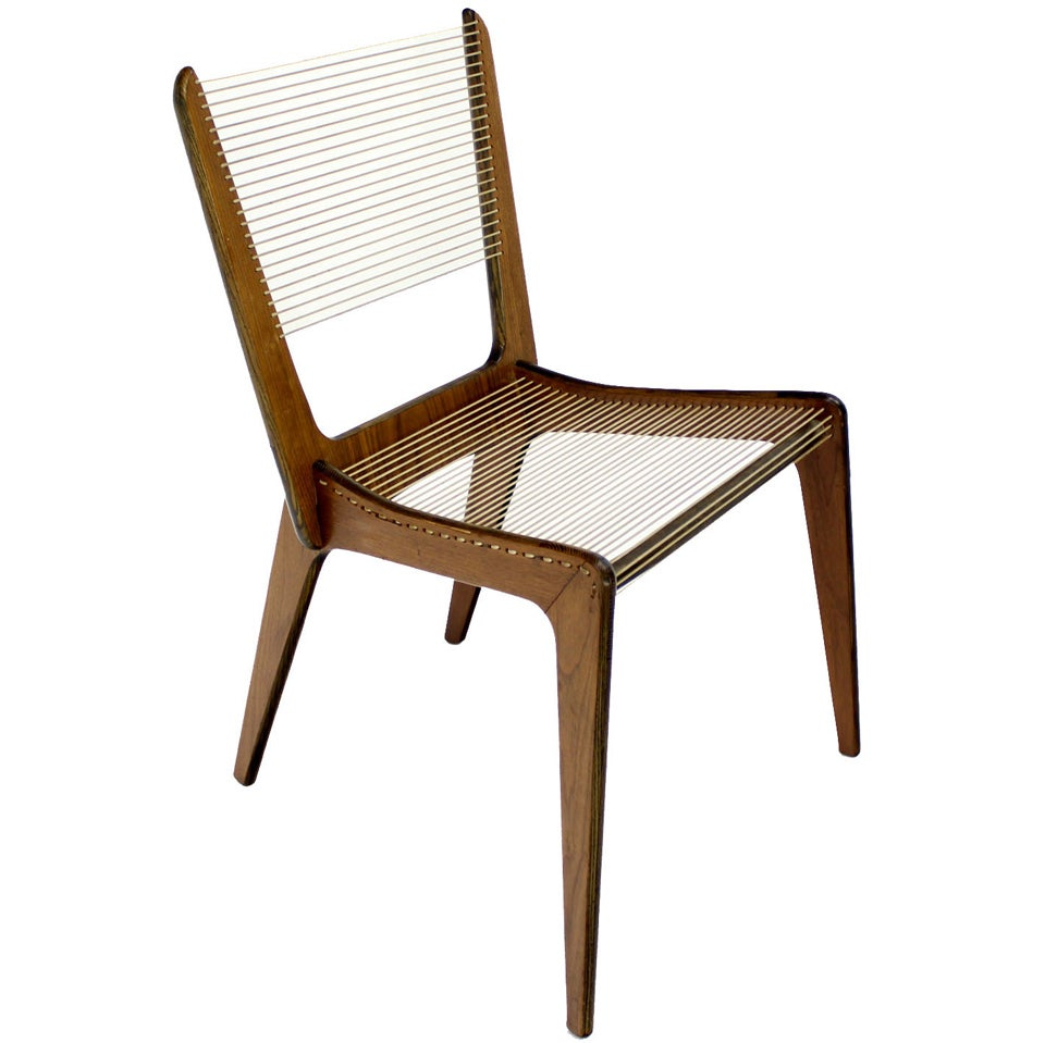 Danish mid century modern sling side chair rope seat chair for Contemporary armchair