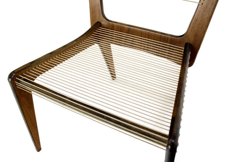 Danish Mid Century Modern Sling Side Chair Rope Seat Chair 3