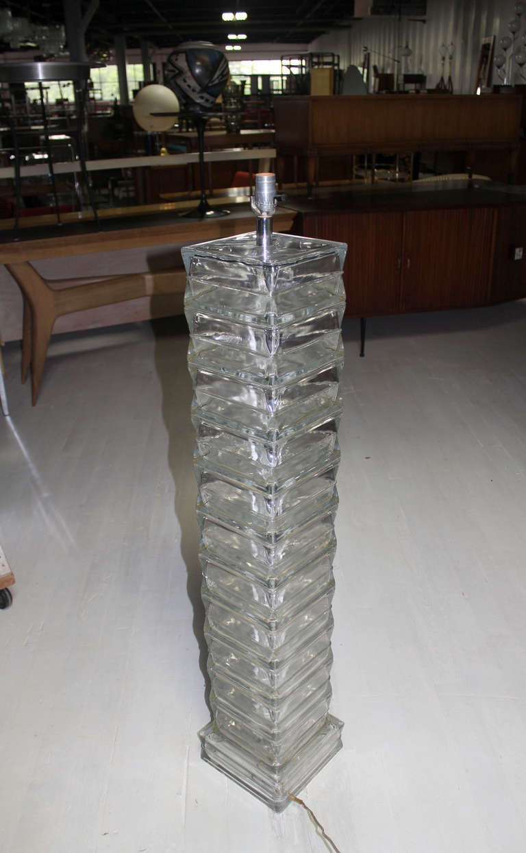 Italian Glass Block Mid Century Modern Floor Lamp At 1stdibs