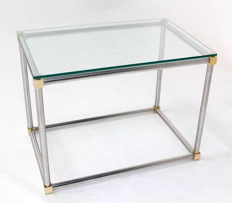 Chrome, Brass And Glass Cube Shape Mid Century Modern Side Table By  Mastercraft 2