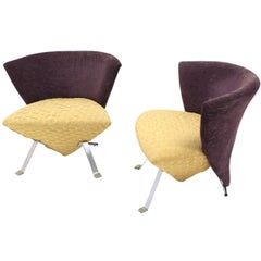 Pair of Saporiti Italian Modern Lounge Chairs
