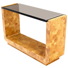 Burl Wood Smoked Smoked Glass Top U-Shape Console Table