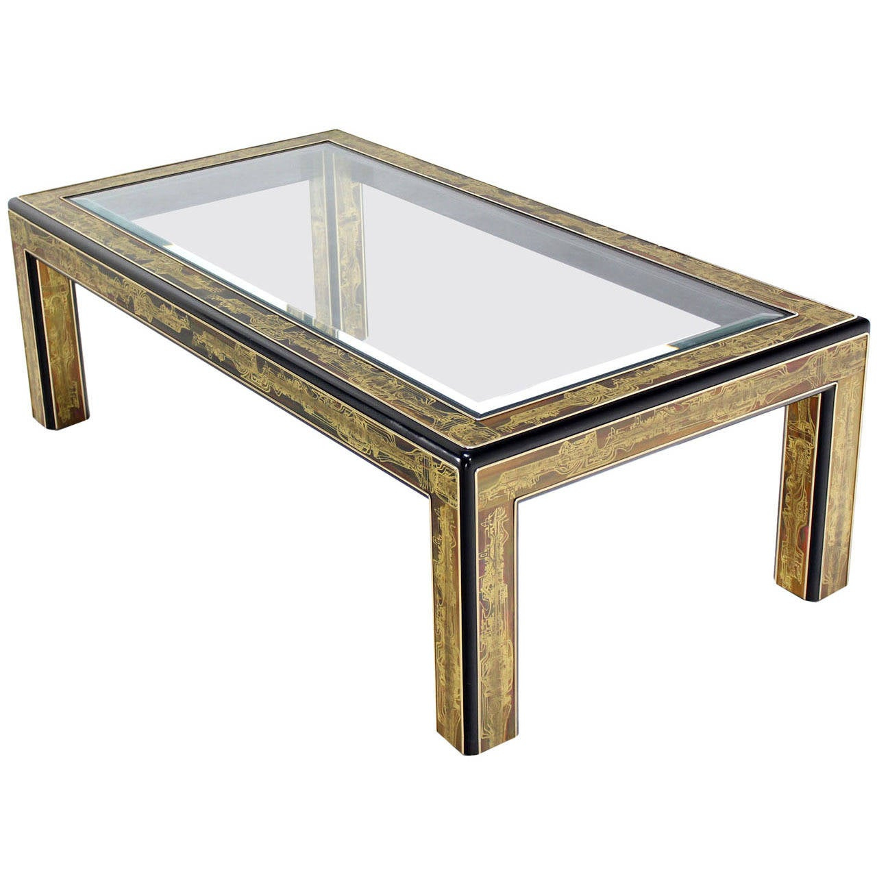 Rectangular glass top brass and wood base coffee table by for Rectangular coffee table with glass top