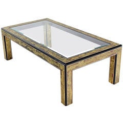 Rectangular Glass-Top Brass and Wood Base Coffee Table by Mastercraft