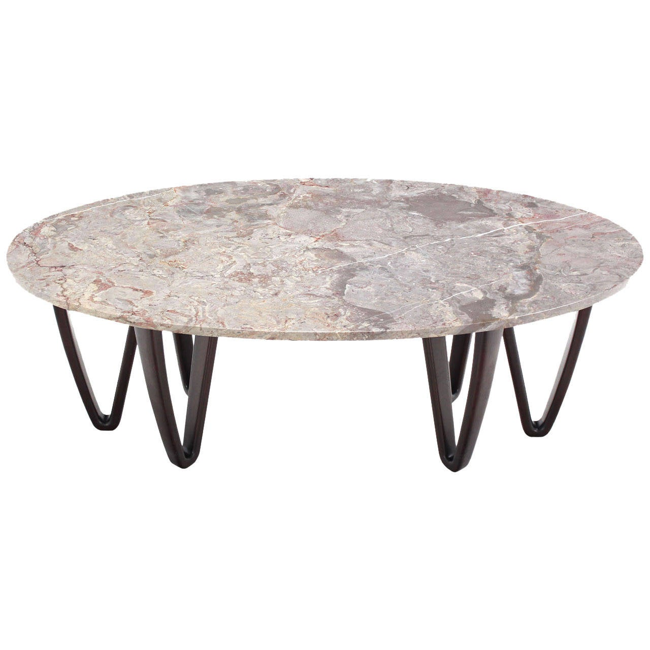 Oval marble top coffee table on wooden hair pin legs at 1stdibs Stone top coffee table