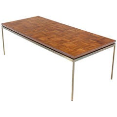 Large Brass Rectangle Base Parquet Top Coffee Table