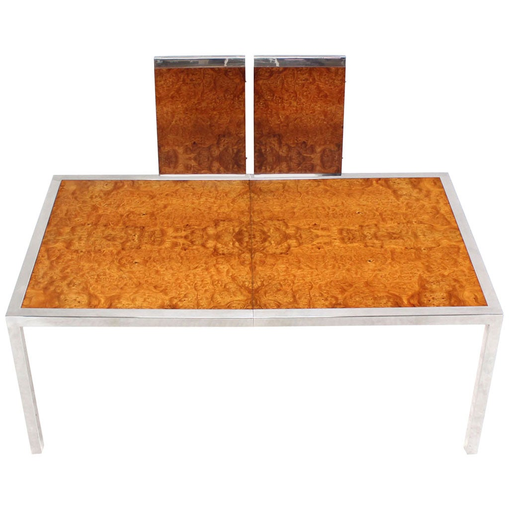 Chrome Burl Wood Dining Conference Table With Two Leaves For Sale At - Conference table with leaves