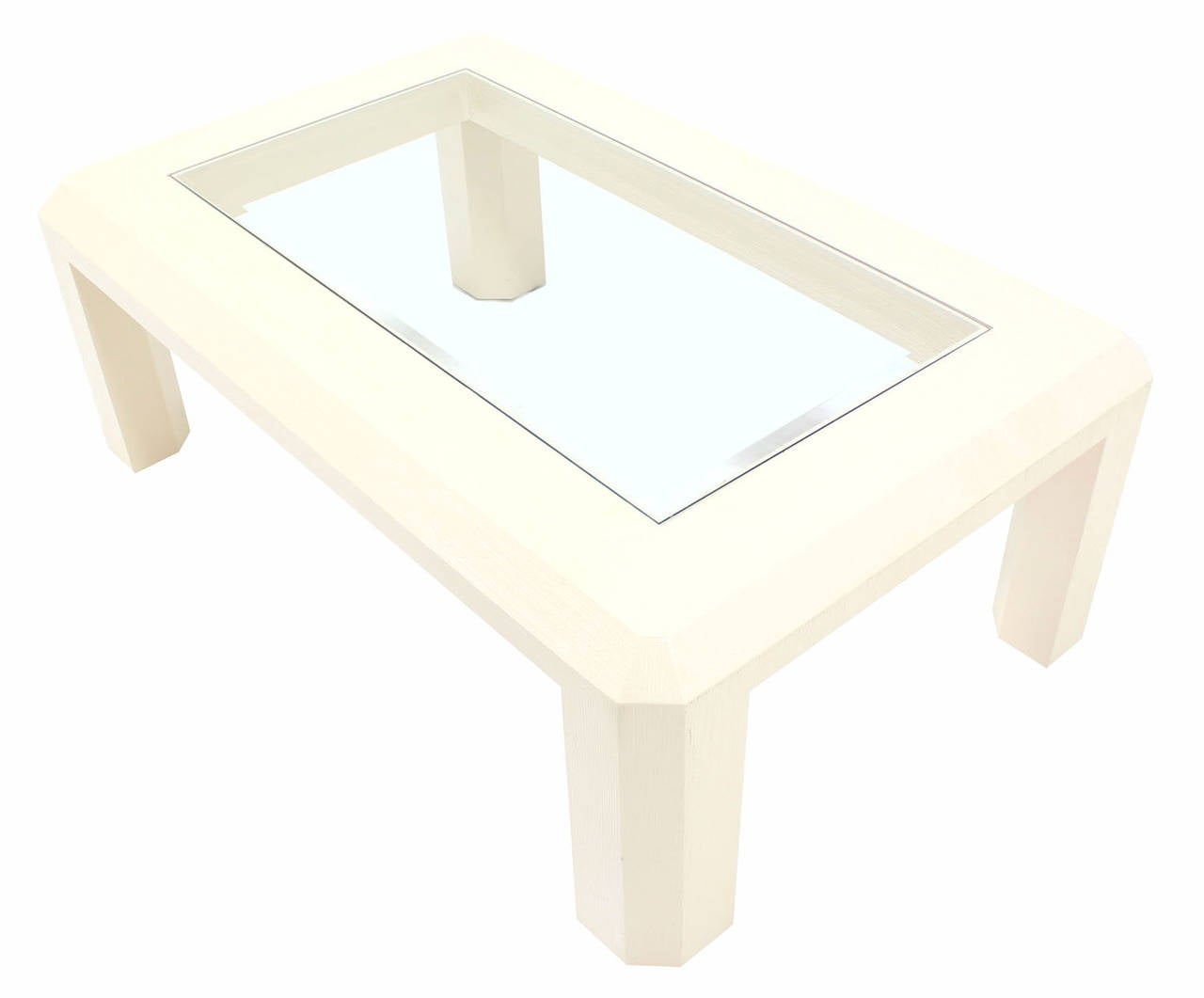 Textured Grass Cloth Rectangular Glass Top Coffee Table For Sale At 1stdibs