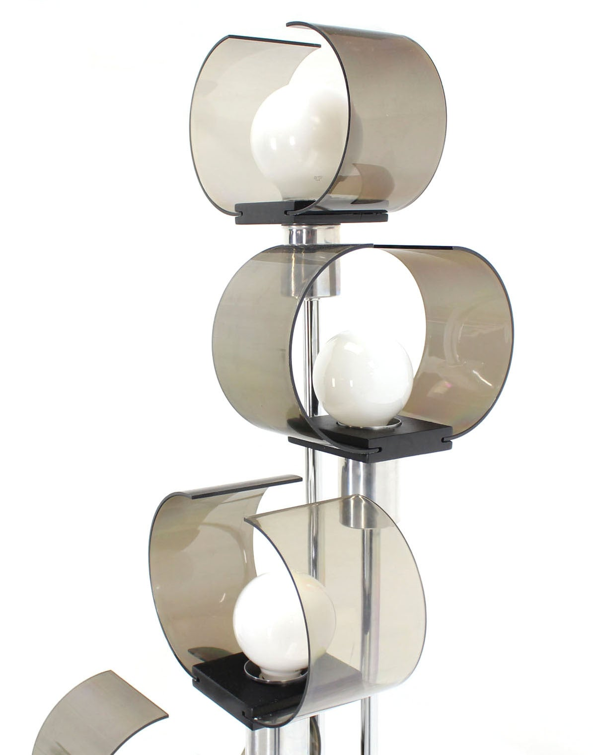 chrome and smoked lucite five light floor lamp for sale at 1stdibs. Black Bedroom Furniture Sets. Home Design Ideas