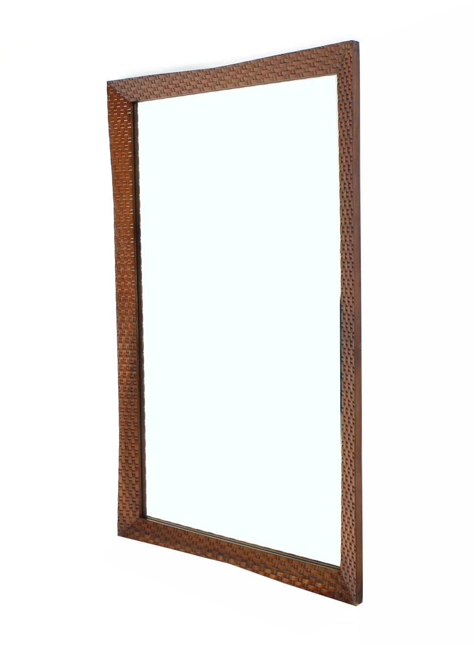 Carved wood carved lattice pattern large wall mirror for Large wooden mirrors for sale