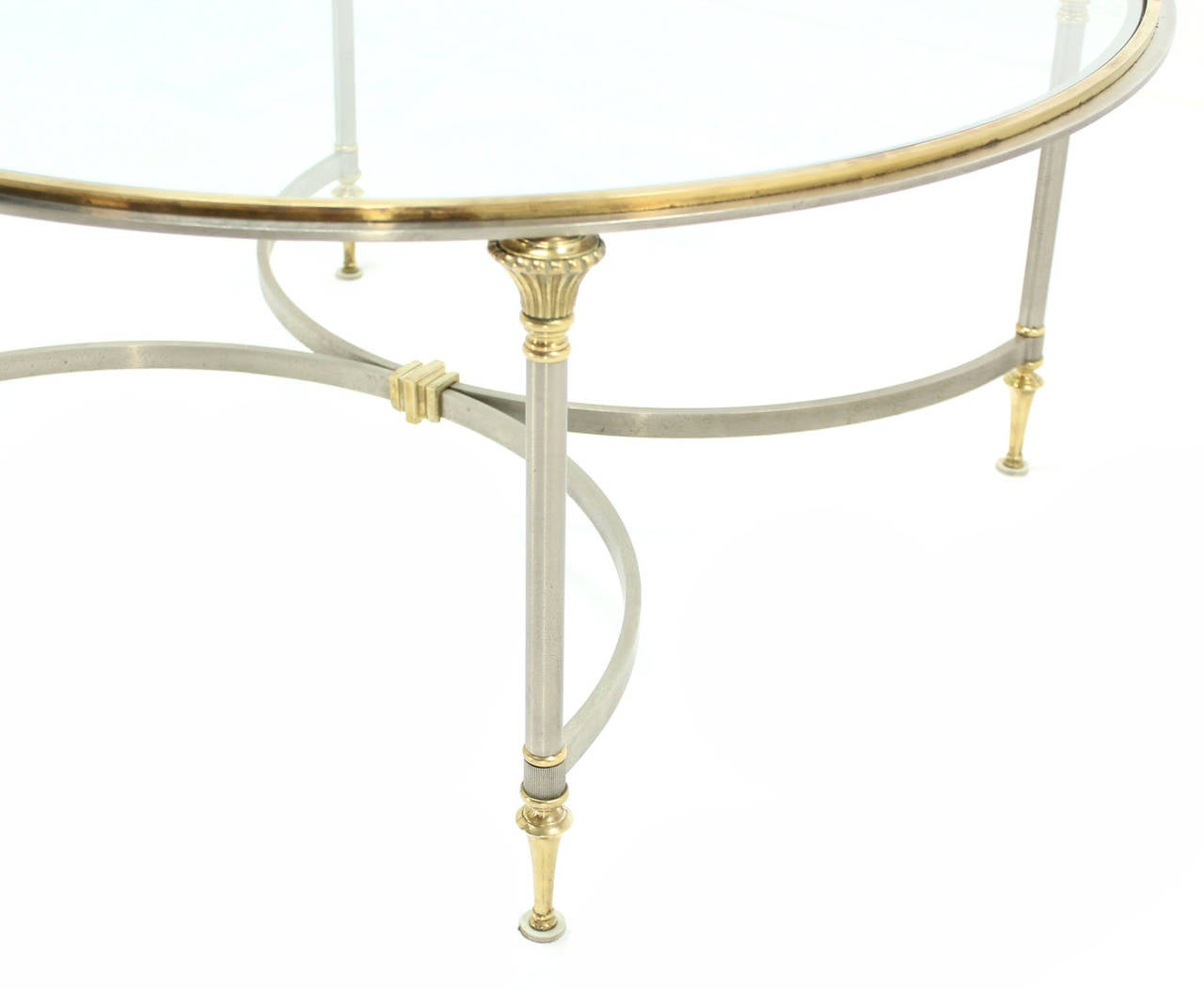 Round Glass Brass And Pewter Round Coffee Table For Sale At 1stdibs