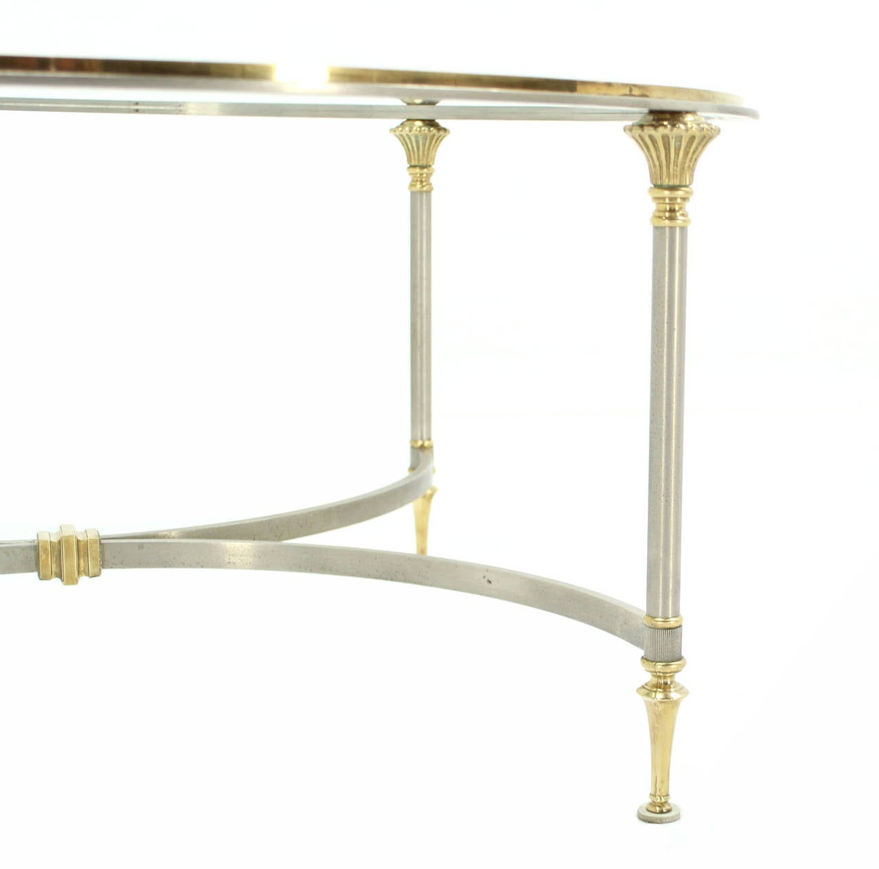 Round Glass Brass And Pewter Round Coffee Table For Sale