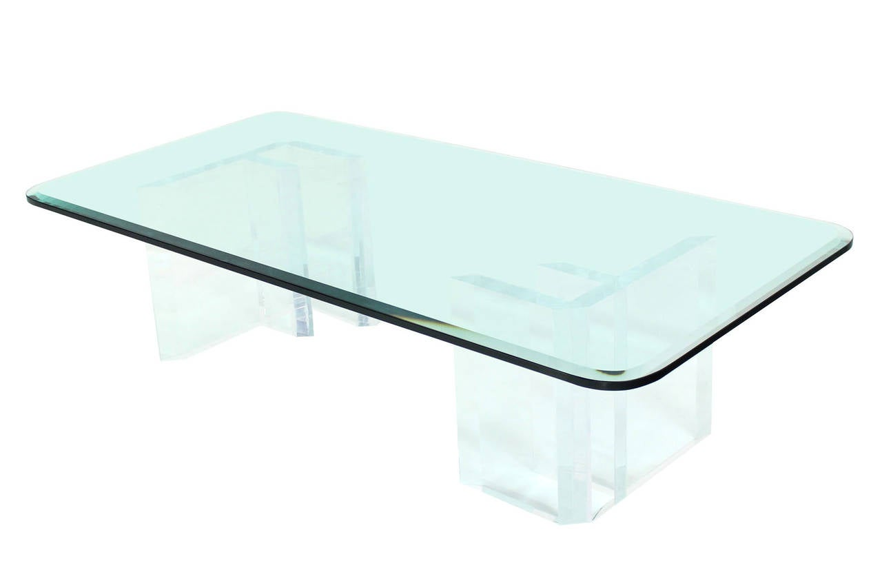 Large Thick Glass Top And Lucite Base Coffee Table At 1stdibs