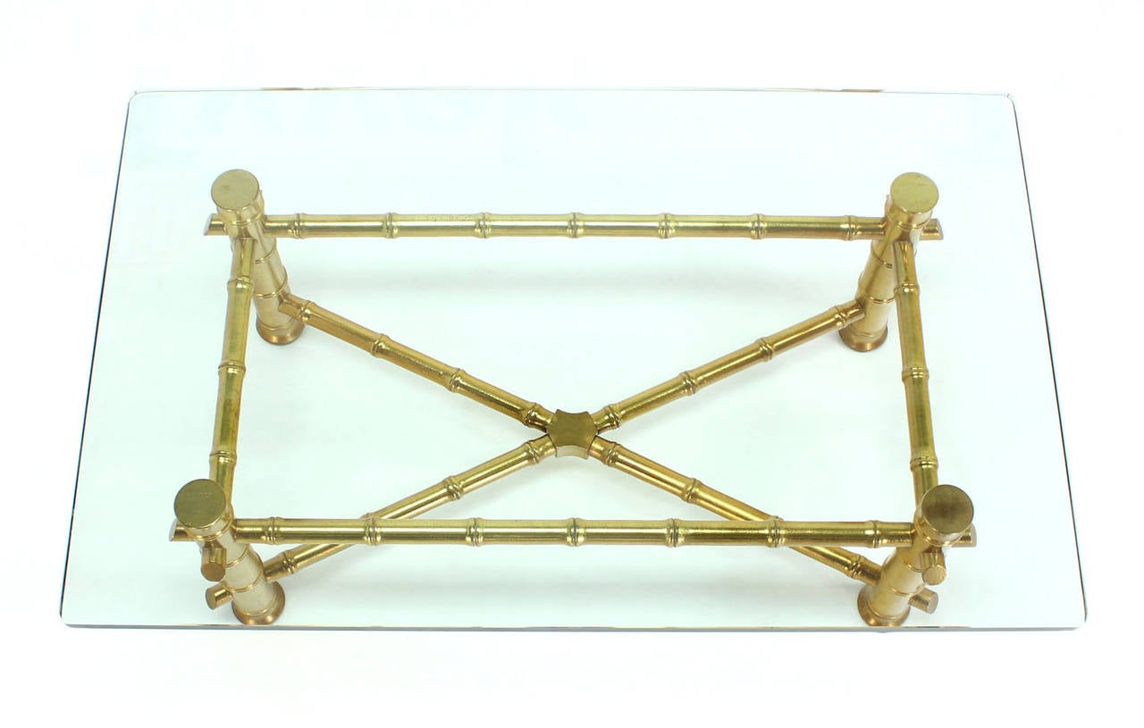 Gold Leaf Faux Bamboo Base Coffee Table with Thick Glass Top In Excellent Condition For Sale In Rockaway, NJ
