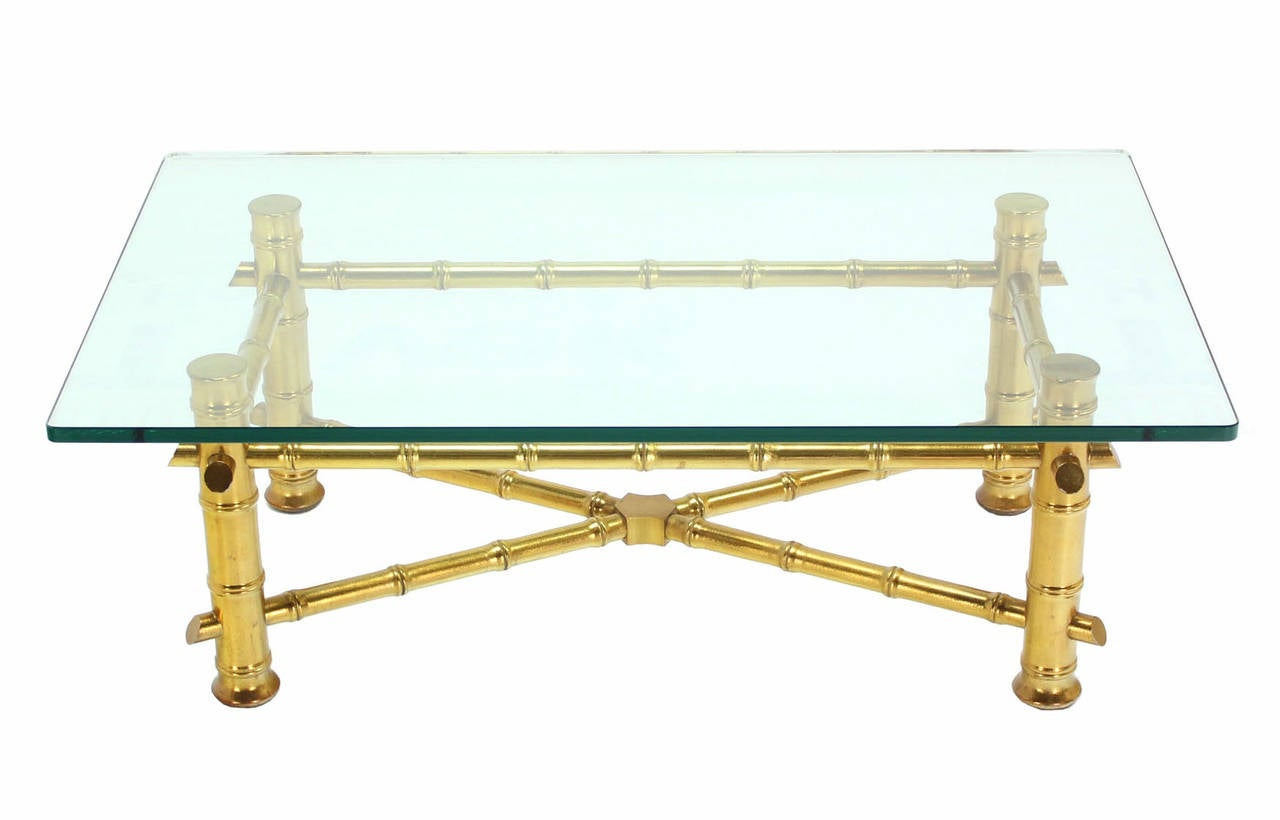 Gold Leaf Faux Bamboo Base Coffee Table with Thick Glass Top For Sale 2