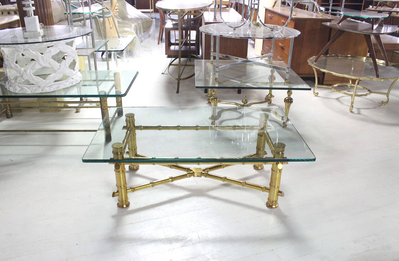 Mid-Century Modern Gold Leaf Faux Bamboo Base Coffee Table with Thick Glass Top For Sale