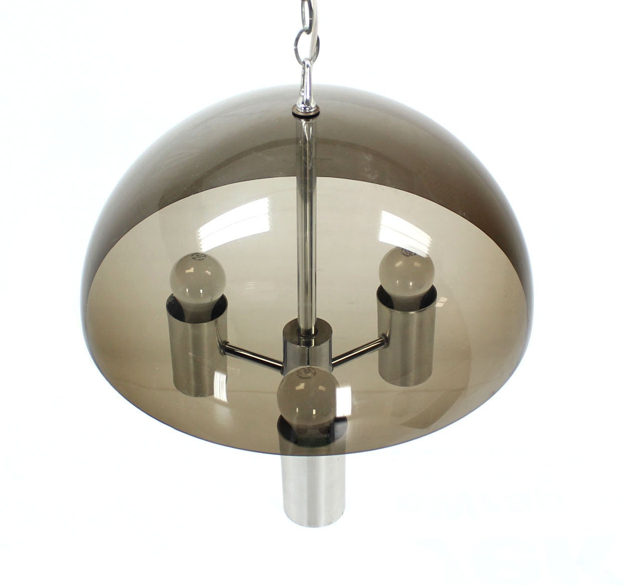 Smoked dome chrome mid century modern light fixture for for Mid century modern pendant light fixtures