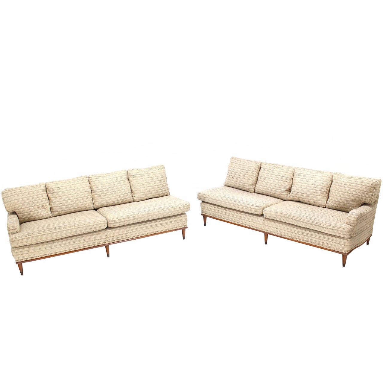 Mid Century Modern Two Part Thick Wool Upholstery Sofa