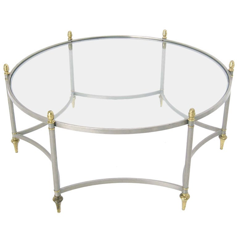 Mixed Metal Mid Century Modern Round Coffee Table At 1stdibs