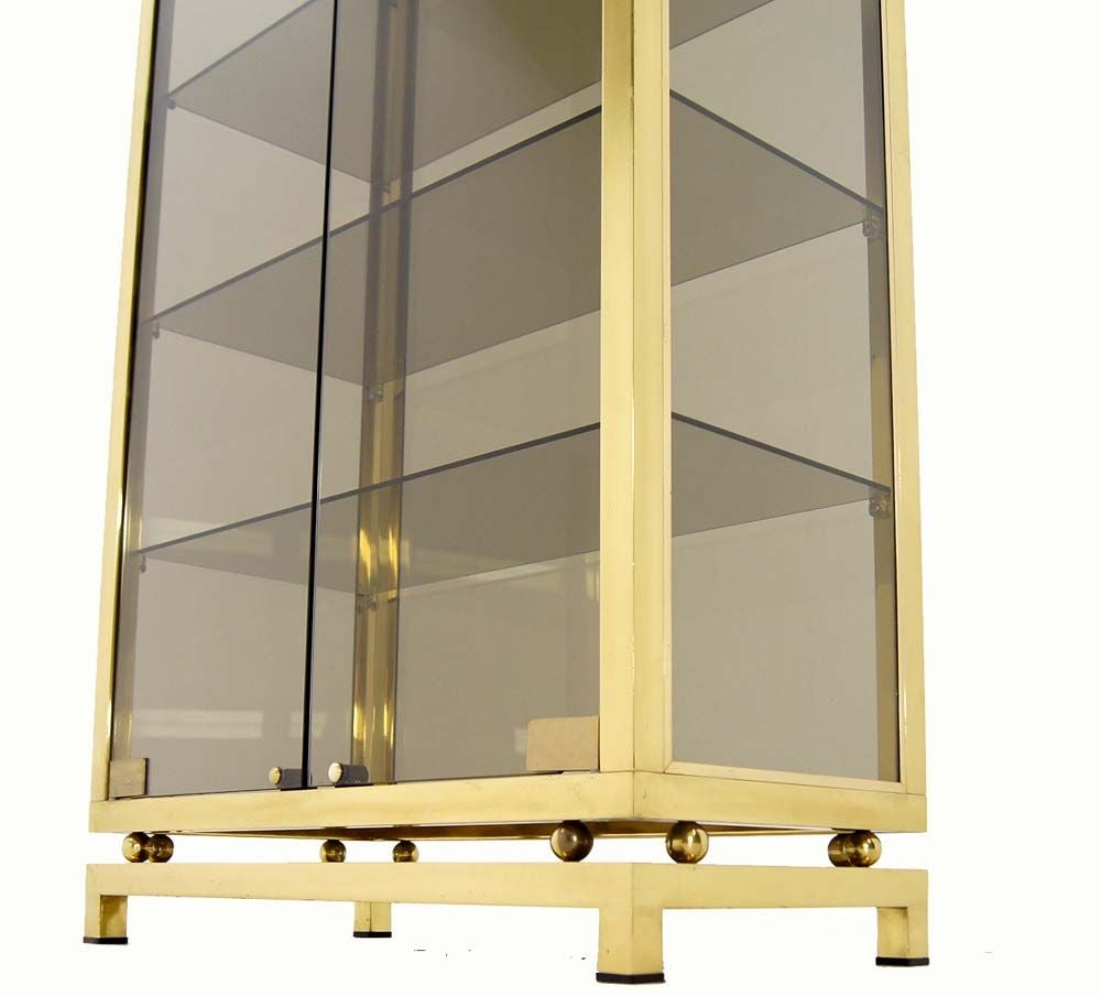 American Modern Solid Brass Glass Curio Cabinet Display Case Vitrine For Sale