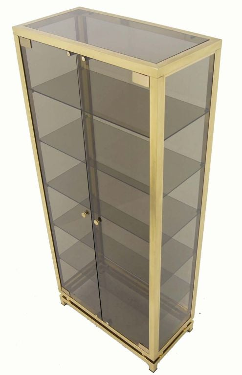 20th Century Modern Solid Brass Glass Curio Cabinet Display Case Vitrine For Sale
