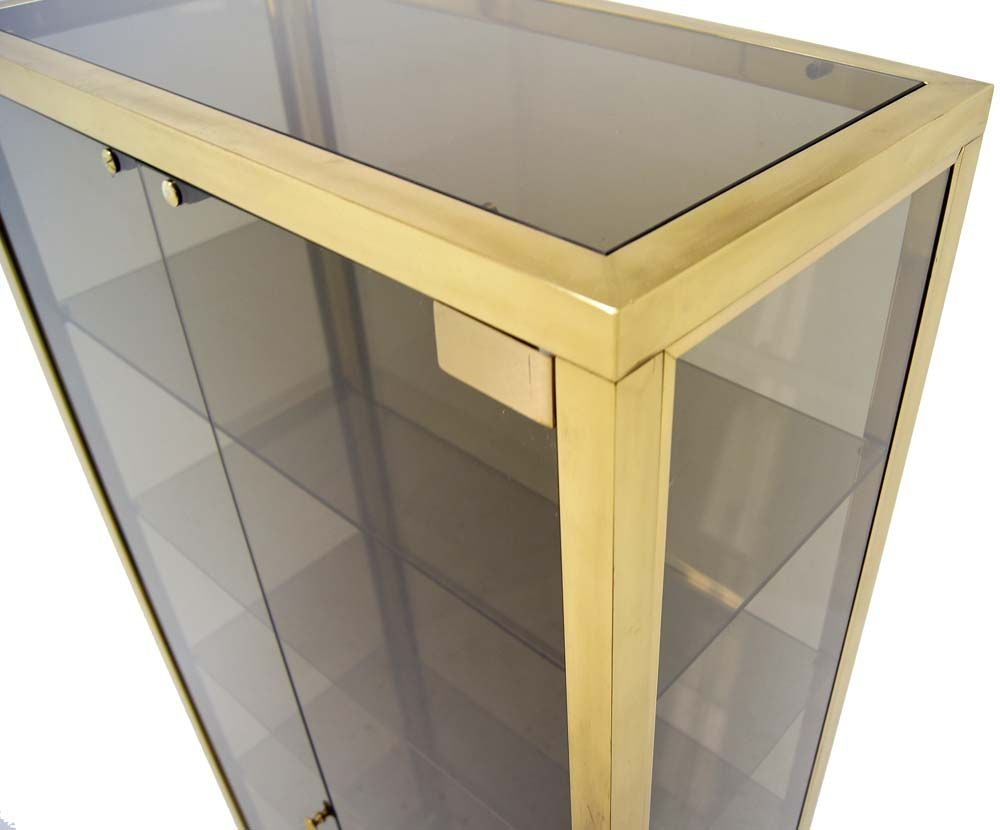 Modern Solid Brass Glass Curio Cabinet Display Case Vitrine For Sale 1