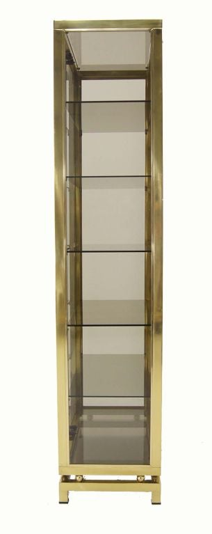Modern Solid Brass Glass Curio Cabinet Display Case Vitrine For Sale 2