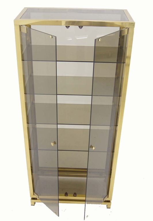 Modern Solid Brass Glass Curio Cabinet Display Case Vitrine For Sale 3