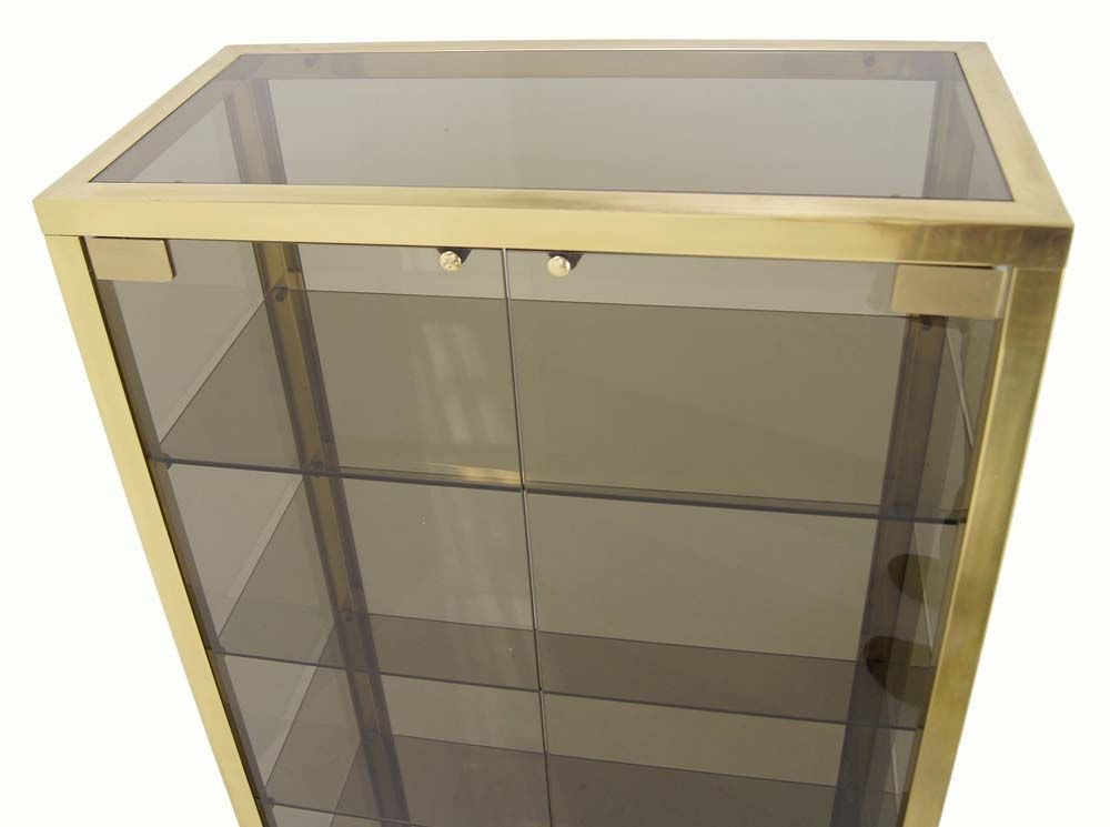 Modern Solid Brass Glass Curio Cabinet Display Case Vitrine For Sale 4