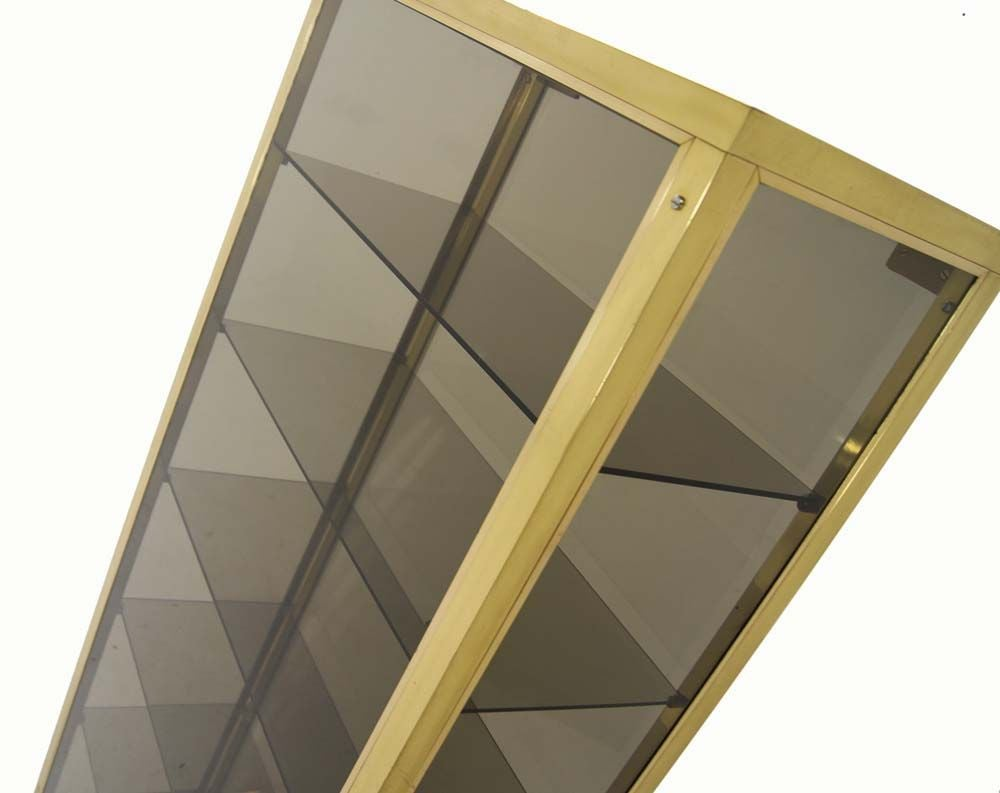 Modern Solid Brass Glass Curio Cabinet Display Case Vitrine For Sale 5