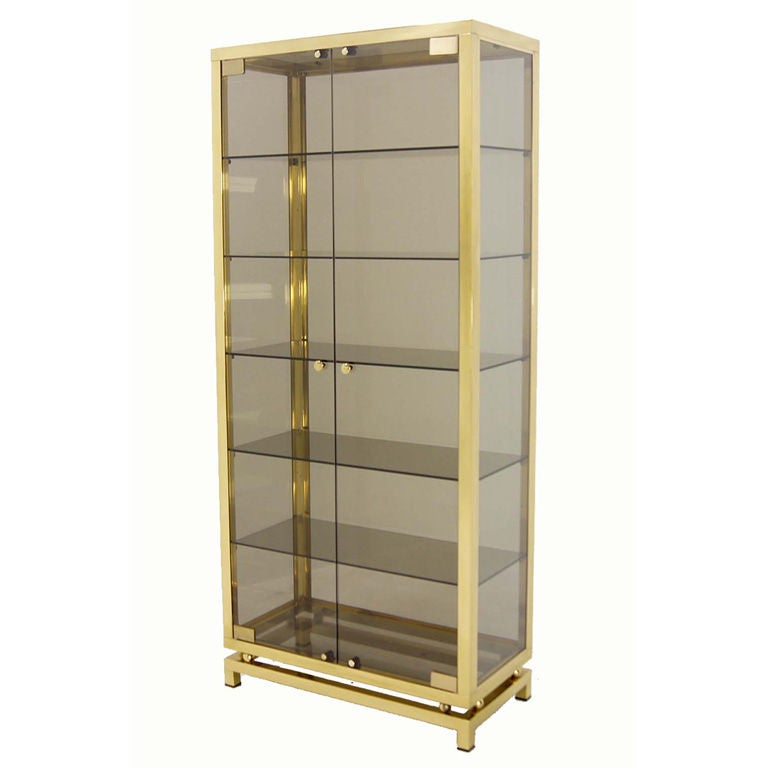 modern solid brass glass curio cabinet display case vitrine at 1stdibs. Black Bedroom Furniture Sets. Home Design Ideas