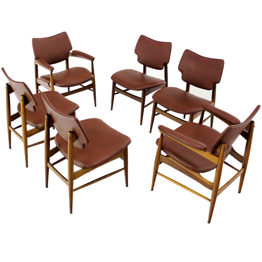 Six mid century modern danish dining chairs by thonet at for Dining designer chairs