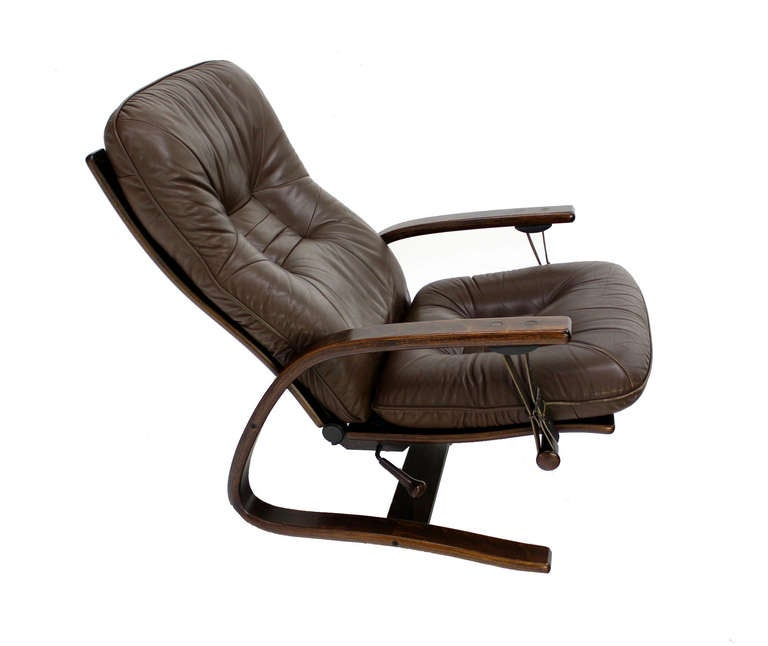 Danish Mid Century Modern Leather Recliner Lounge Chair 2