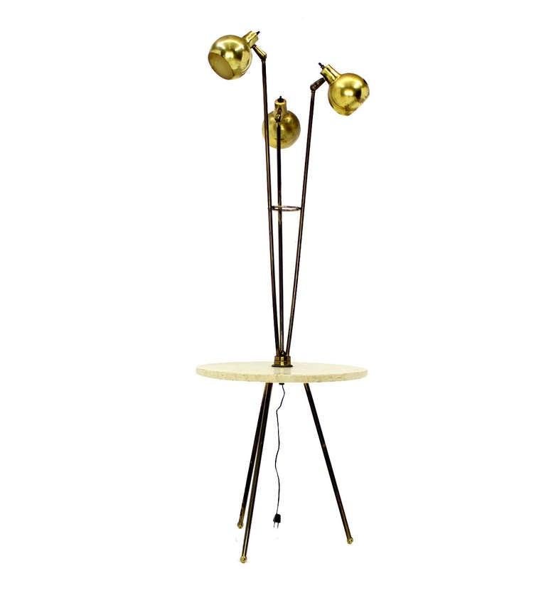 mid century modern marble side table floor lamp at 1stdibs