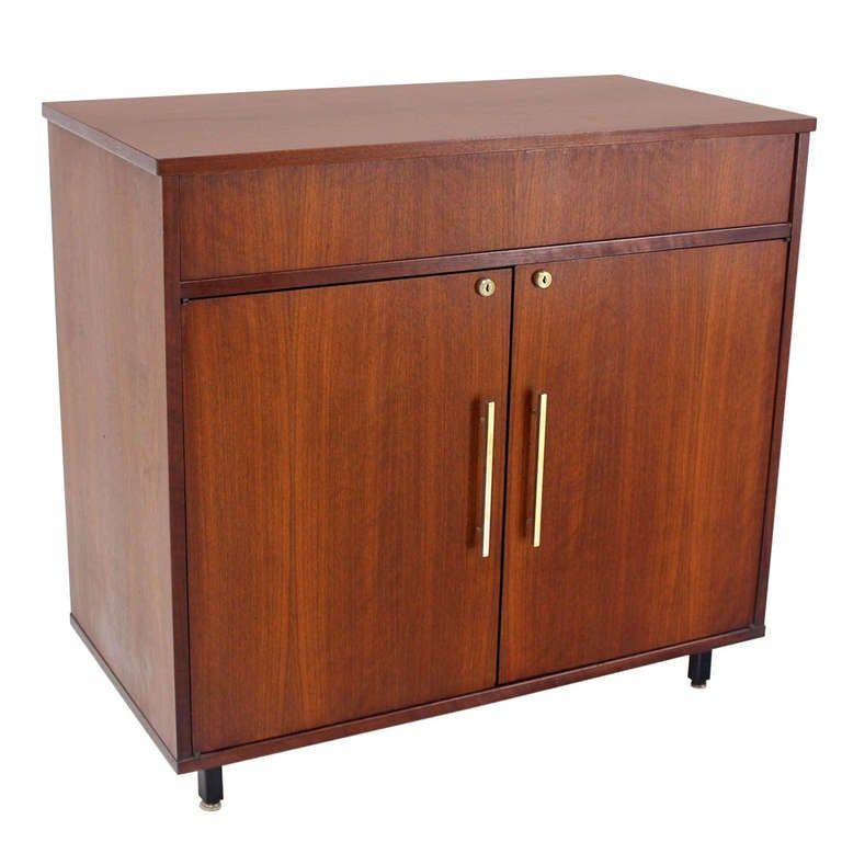 Mid-Century Danish Modern Walnut Refrigerated Bar Cabinet 1